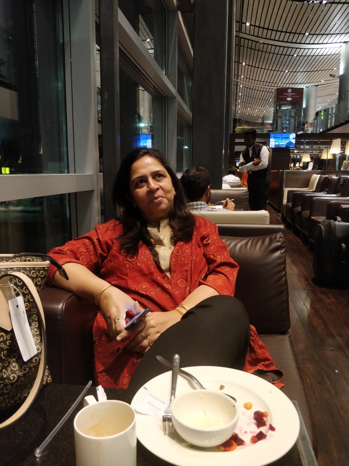 At the Thai Airways Lounge RGI, Hyderabad